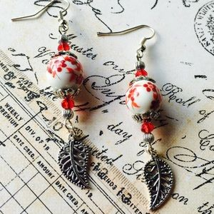 Porcelain floral bead & silver leaf earrings